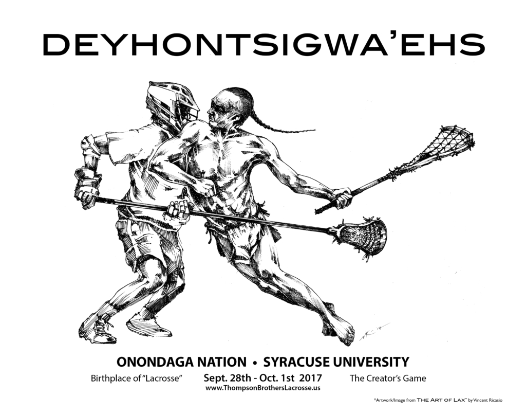 """Deyhontsigwa'ehs-The Creator's Game Lacrosse. © Artwork and Image from """"The Art of Lax"""" by Vincent Ricasio 2017."""